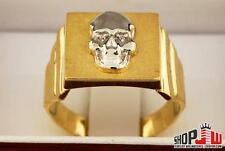 Mens Real 10k Gold Two Tone Square Skull Ring Yellow White Biker Bones Skeleton