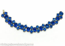 ANTIQUE ART DECO SAPPHIRE BLUE Czech Glass Silver Link Vtg Rhinestone Bracelet