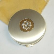 Avon Two Tone Pressed Powder Compact with Sleeve and Applicator
