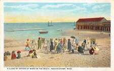 Cape Cod Massachusetts Artists Painting at the Beach Antique Postcard J46068