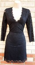 H&M FLORAL LACE BLACK LONG SLEEVE V NECK BODYCON PENCIL PARTY TUBE DRESS 12 M