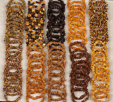 Natural Baltic Amber Raw Unpolished Beads Bracelets - Various Colors - Lot 100