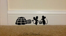 CHRISTMAS MOUSE IGLOO Wall Art Sticker Vinyl Decal Mice Home Skirting Board HOLE