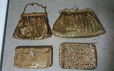 Vintage Whiting & Davis Gold Metal Mesh Evening Bag Handbag Purse Chain LOT OF 4