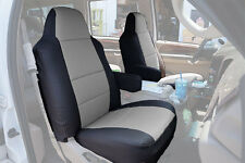 FORD EXCURSION 2000-2005 BLACK/GREY S.LEATHER CUSTOM MADE FIT FRONT SEAT COVER