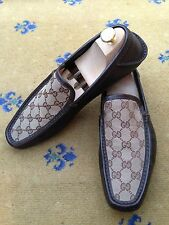 GUCCI Uomo Scarpe Marrone Tela Mocassini Deck NAUTICA UK 8.5 US 9.5 EU 42,5