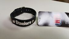 Pittsburgh Steelers Black Ladies Leather Buckle Bracelet bling Fashion Belt NFL
