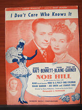 I Don't Care Who Knows It -Nob Hill -1944 sheet music -vocal piano guitar chords