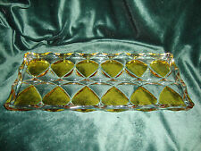 WALTHER Clear & Cool Lemon Yellow  Geometric Art Glass Relish Serving Tray Dish