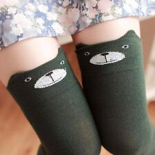 Women Winter Cat Bear Panda Knitted Over Knee Long Boot Thigh-High Warm Socks A