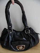 b. Makowsky Black Croc Embossed Leather Shoulder Bag, Excellent Condition