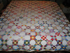 Antique early 1900s Hand Pieced~Quilt- SCRAPPY -POSTAGE STAMP- SNOWBALL QUILT