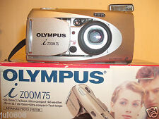 BOXED OLYMPUS I ZOOM 75 QUARTZ DATE~PANORAMA APS FILM CAMERA~28-75MM LENS 25JN12