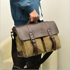 Vintage Men's Canvas Leather Messenger Shoulder Bag Briefcase Satchel Khaki New