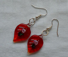 Beautiful murano glass earrings leaf shaped red with little pink rose stoppers