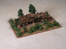N Scale rusty logging shay locomotive.up on railroad ties diorama. version #3