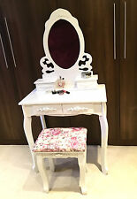 White Vanity Dressing Table Desk Girl's Bedroom Furniture Floral Makeup