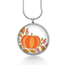Cute thanksgiving necklace with a orange pumpkin and fall leaves, holiday gifts