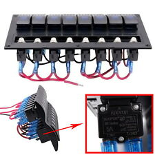 Car Marine Boat Splashproof 8 Gang Blue LED Toggle Switch Panel Circuit Breaker