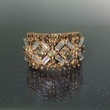 Designer 14k Rose Pink gold natural multi color Diamond fancy ring band 3.11ctw