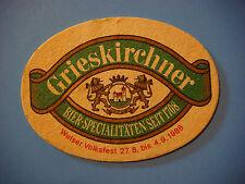Vintage Beer Brewery Coaster ~ Brauerei Grieskirchner Bier ~ AUSTRIA Since 1708