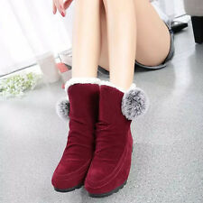 Women Fashion Ankle Boots Thick Winter Flats Shoes Warm Suede Soft Shoes 38