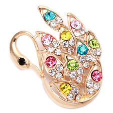 10pcs Wholesale Lots Colorful Rhinestone Gold Plated Swan Shape Alloy Brooches L
