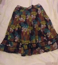 Laura Ashley, Skirt, Gorgeous floral-leaf design, 100% Linen, UK  12.