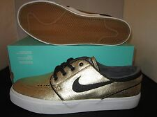 NIKE ZOOM STEFAN JANOSKI SB METALLIC GOLD SKATE CASUAL SHOES 616490-702 (Sz:8.5)