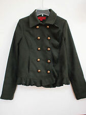 CoffeeShop Wool Ruffle Peacoat Olive Military Jacket S Small Urban Outfitters