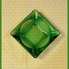 VTG Mid Century Forrest Green Square Glass Ashtray-EXCELLENT-Anchor Hocking