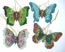 Kubla Cloisonne Butterfly ornaments. Set of 4pc. 4393