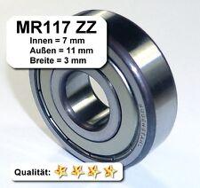2 Stk. Radiales Rillen-Kugellager MR117ZZ (7x11x3), MR117-2Z