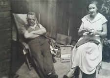 Vintage 1960s B/W Photograph. Man & Woman in a London Back Garden. Knitting/ LPs