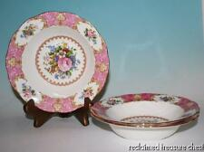 "Royal Albert Lady Carlyle Rim Soup Bowls 8"" Set of 3 England Pink"