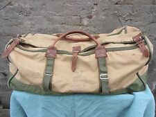 Vintage Gokey Hunting Bag No 7 Leather Canvas Duffle Carry On Travel Tan Green