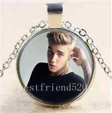 Justin Bieber Photo Cabochon Glass Tibet Silver Chain Pendant  Necklace