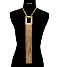 GOLD EGYPTIAN TASSEL BIG SQUARE CHOKER Statement Necklace & Earrings SET