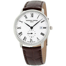 Frederique Constant Slimline White Dial Leather Strap Men's Watch FC245WR5S6DBR