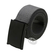 UK Seller Mens Womens Unisex Cotton Canvas Fabric Webbing Black Buckle Belt Army