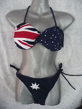 BNWT Womens Smart Navy Sz 14 Aussie Flag Print String Bikini Bathers Swim Set