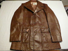 Vtg Mens Lakeland Leather Car Western Mod Indei Brown Biker Jacket Coat Sz 44 L