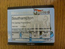 16/01/2000 Ticket: Newcastle United v Southampton  (folded, creased). Footy Prog