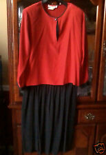 100% Silk 2 Piece Dress, Red Top, Black Skirt, Size 18,  by John Yang New York