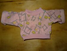 """Vintage 1980 CABBAGE PATCH KID DOLL CLOTHES Pink Gray Geometric Sweatshirt """"CPK"""""""
