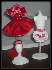 OUTFIT MATTEL BARBIE DOLL COCA COLA WAITRESS RED & WHITE DRESS HAT APRON ITEMS