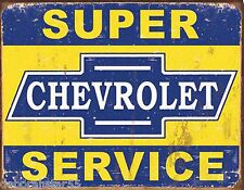 Large Super Chevrolet Service Chevy Vintage Garage Advert Tin Metal Sign 1355