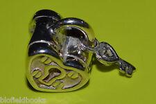 Nuevo-Original chamilia pulsera con dijes del grano, Diseño de candado y llave de plata esterlina