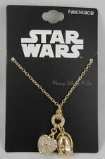 New Disney Star Wars Gold Tone C-3PO Droid Head &3D Bling Heart Pendant Necklace