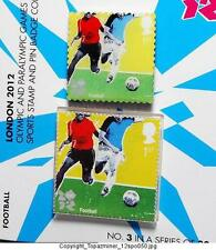 OLYMPIC PINS 2012 LONDON ENGLAND UK FOOTBALL SOCCER POSTAGE STAMP & PIN SET